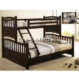Danish Charcoal Walnut Wooden Twin/Full Bunk Bed