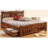 ATN9528 Wooden Queen Bed with Drawers