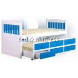 ATN205 Wooden Single Bed with Trundle & Drawers