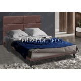 OBS Mita Kaki Upholstered Divan Queen Bed with Wooden Leg