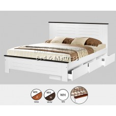 AT CS1506/CS1606WHW Wooden Queen Bed with Drawers