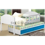 ATN209/309WH/9204B Wooden Single Bed with Trundle & Dawers