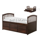 CB-A001-WG Wooden Bed with Trundle and Drawers