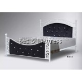 BR317 Metal Queen Bed with Cushion Head and Footboard