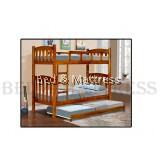 BED-00184/185 Wooden Bunk Bed with Trundle