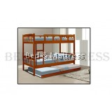 BED-00182/183 Wooden Bunk Bed with Trundle